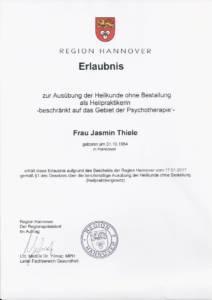 Heilpraktiker Erlaubnis Jasmin Thiele